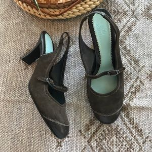Cole Haan brown suede cap toe sling back Mary Jane